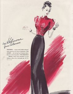 Vintage Ad Harpers Bazaar Fashion by Kalmour from Celanese 1938