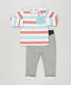 b39ba7a77d Conjunto Infantil de Camiseta Listrada Manga Longa + Calça em Moletom Cinza  Mescla