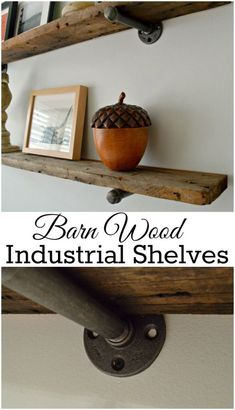 DIY barn wood industrial shelves are easy to do and have a rustic elegance to them. chatfieldcourt.com
