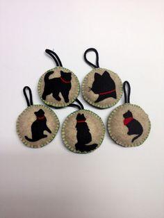 Hand Stitched Felt Cat Ornaments