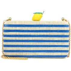 Kayu Vera Striped Straw Clutch (13.465 RUB) ❤ liked on Polyvore featuring bags, handbags, clutches, blue, kayu, straw handbags, stripe purse, striped handbags and striped purse