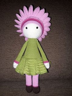 Crochet flower doll Gerbera Gemma made by Marieke B - crochet pattern by Zabbez