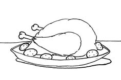 Serving Chicken with Drumstick Coloring Pages - NetArt
