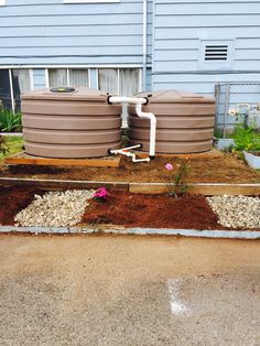 #rainwaterharvesting And #RainWise Installation In West Seattle. 3 X 420  Gallon Tanks. Overflow To Side Sewer Connection Under House.