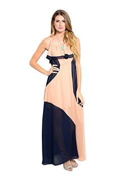 Womens Spaghetti Strap Maxi Dress W Flounce Neckline Peach Navy S * You can  get additional details at the image link.