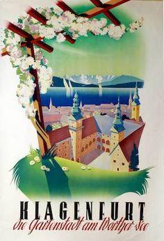 Carinthia - Klagenfurt die Gartenstadt am Wörthersee, Ebner, Ferdinand? Klagenfurt, Retro Illustration, Illustrations, Carinthia, Tourism Poster, Hidden Places, Places In Europe, Travel And Tourism, Vintage Travel Posters