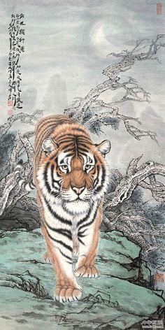 artist Meng Xiangshun Chinese Painting, Chinese Art, Japanese Tiger Tattoo, Tiger Drawing, Symbolic Art, Animal Symbolism, Traditional Paintings, Dragon Art, Animal Paintings
