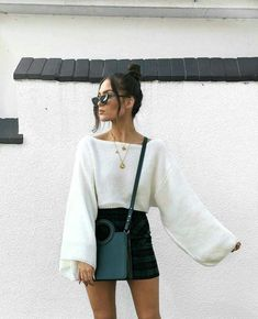 white top black skirt teal bag spring outfit night out