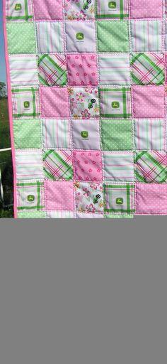 Pink John Deere girl toddler quilt homemade by createdbymammy, $45.00