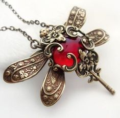Dragonfly necklace, Victorian style vintage filigree jewelry in red