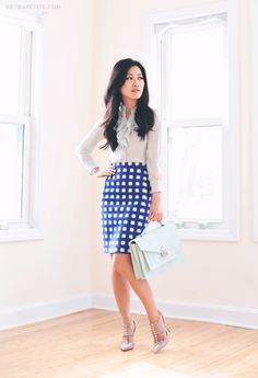 Dress for success -Topshop Checked Print Pencil Skirt by Extra Petite Fashion Mode, Office Fashion, Petite Fashion, Work Fashion, Street Fashion, Office Attire, Office Outfits, Work Attire, Office Wear