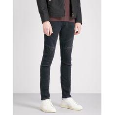 J BRAND Bearden moto slim-fit skinny jeans ($340) ❤ liked on Polyvore featuring men's fashion, men's clothing, men's jeans, mens mid rise jeans, mens button fly jeans, j brand mens jeans, mens skinny jeans and mens slim jeans