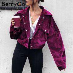Corduroy single breasted autumn jacket Women casual pocket winter outerwear 2018 High street purple jacket coats femme Purple S purplejacket Purple Outfits, Trendy Outfits, Cute Outfits, Fashion Outfits, Fresh Outfits, Womens Fashion, Fashion Clothes, Fashion Fashion, Fashion Ideas