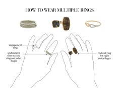 How to wear multiple rings at once with your engagement ring #accessorizing #styling #jewelry