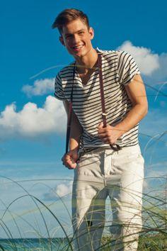 White pants. Striped T & Suspenders (Chad Buchanan by Scott Teitler)