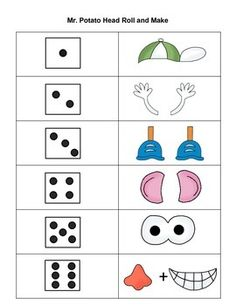Could make like whole body listening monsters. They roll the dice and end up with like 5 eyes. Each time they roll the dice they have to say what they do with that thing Language Activities, Therapy Activities, Math Activities, Mr Potato Head, Potato Heads, Eyfs Classroom, Classroom Decor, Body Preschool, Preschool Math