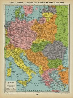 Central-Europa war  1939 Geography Map, Alternate History, Old Maps, Central Europe, Historical Maps, Cool Pictures, Retro, Germany, Diagram