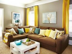 New Living Room Colors With Brown Couch Blues Curtains Ideas Condo Living, New Living Room, Apartment Living, Home And Living, Living Room Colors, Living Room Inspiration, Family Room, Interior Design, Yellow Curtains