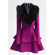 Elegant Turn-Down Collar Fake Fur Embellished Long Sleeve Ruffle Coat For Women, PURPLISH RED, M in Jackets & Coats | DressLily.com