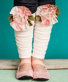 Look at this #zulilyfind! Pink & Ivory Vintage Lace Flower Leg Warmers by Snugars #zulilyfinds