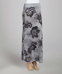 Another great find on #zulily! Gray & Black Floral Maxi Skirt by Casa Lee #zulilyfinds