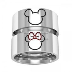 Mickey minnie ring, mice rings, love rings, silver band rings
