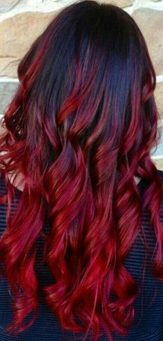 Long scarlet red ombre  Via twitter