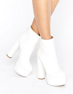 Buy Public Desire Sky White Platform Heeled Ankle Boots at ASOS. With free delivery and return options (Ts&Cs apply), online shopping has never been so easy. Get the latest trends with ASOS now. White High Heel Boots, Platform Ankle Boots, White Boots, Heeled Boots, Bootie Boots, High Heels, Fur Boots, White White, Ankle Booties