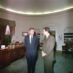 #JFK_Photos   http://en.wikipedia.org/wiki/John_F._Kennedy          John F. Kennedy meets with actor Cliff Robertson. April 24, 1963.  ❤❀❤