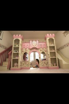 Princess Castle room for a little girl. Look at the slide!!! Makayla would <3 it!!!