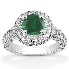ApplesofGold.com - Antique Halo Emerald and Diamond Ring, $1,975