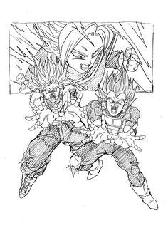 """Father-Son Galick Gun!"" Drawn by: Young Jijii. Found by: #SonGokuKakarot"