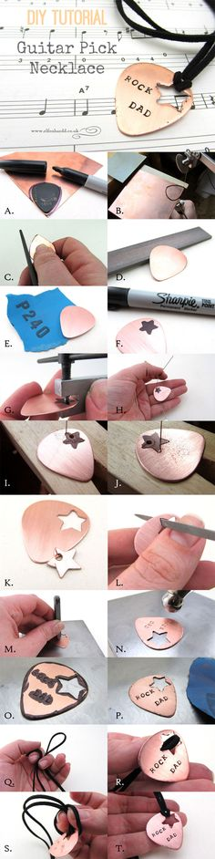 DIY Tutorial: How to make a Hand Stamped Guitar Pick Necklace. Full tutorial at http://www.elfenhardd.co.uk/2014/06/diy-tutorial-hand-stamped-guitar-pick-necklace/
