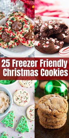 25 Freezer Friendly Christmas Cookies Make your life easier and start baking those Christmas cookies now! These scrumptious recipes can be made in advance and frozen, and they taste freshly baked when you thaw them! Christmas Cookie Exchange, Best Christmas Cookies, Christmas Snacks, Christmas Cooking, Holiday Cookies, Christmas Parties, Christmas Goodies, Christmas Candy, Christmas Dessert Recipes
