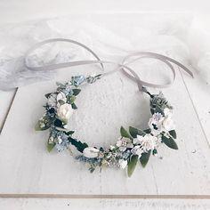Dusty flower crown Bridal Flower crown Grey white florall