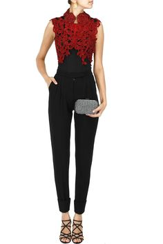 Red embroidered cutwork jacket available only at Pernia's Pop-Up Shop. .  . $632/-