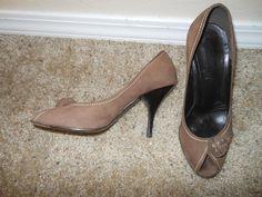 Prada Light Brown Suede Peep Toe Pump AS IS Size 36.5 #Prada #PeepToepump #any