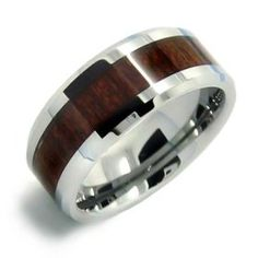 Bling Jewelry Wood Inset Mens Tungsten Beveled Edge Ring 8mm $39.99