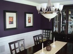 My eggplant purple dining room, I chose this color on a whim and everyone seems to like it. The color is Black Raspberry by Benjamin Moore., Dining Rooms Design