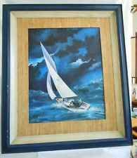 Large Oil Painting Vintage Marine Sailboat Yacht Stormy Ocean Seas R G Radcliffe