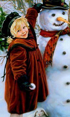 """""""petite fille et snowman"""" rétrogirl Christmas Paintings, Christmas Art, Christmas 2016, Beautiful Christmas, Victorian Christmas, Vintage Christmas, Vintage Thanksgiving, Christmas Illustration, Illustration Art"""