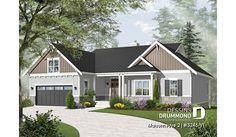 Version couleur no. 3 - Vue avant du plan de maison unifamiliale 3246-V1