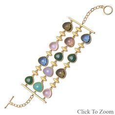"""7.75""""  Sterling Silver 18 Karat Gold Plated Multicolor Glass Toggle Bracelet"""