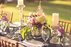 Elegant Outdoor Table for an island wedding with accents of green and purple by Bliss Wedding Design + Petals- Natalie Brown Photography