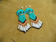 Native American Style Rosette beaded Cabachon Earrings in