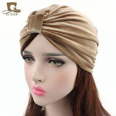 New Fashion women turban indian caps Celeb Style Neon Headband Vintage Double Stretch Velvet Turban Head wrap VH-58 #Affiliate