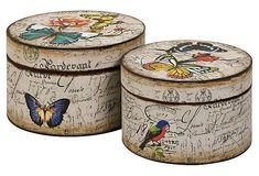 Vintage style hat boxes - for the MN kitchen Decoupage Box, Decoupage Vintage, Painted Boxes, Wooden Boxes, Hat Boxes, Pretty Box, Altered Boxes, Vintage Box, Vintage Style