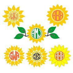 Sun Flower Pack Cuttable Design Frame Monogram SVG by CuttableSVG