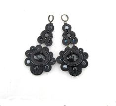 Black Boho Earrings Long Handmade Soutache by GiSoutacheJewelry