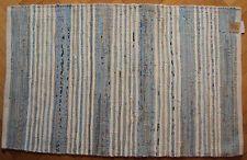 Hand Woven Recycled Cotton 110cm x 70cm Chindi Rag Rug Mat - Sky Blue Cream